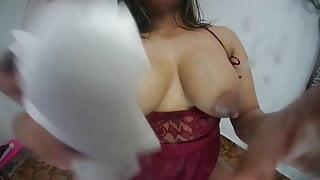 Latina milks her tits