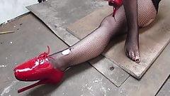 self-bondage in ballet heels
