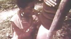 Ebony Girl Sucks and Fuck the White Man Outdoors (Vintage)
