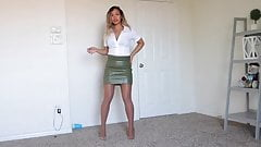 Latin Lady with Tight leather Skirt and High-Heels (Part1)