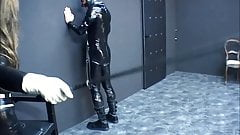 Riding Latex Girl whipping hard Latex Stableboy