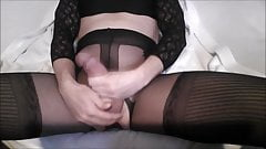 CD with big pierced cock cums in black lingery c2c