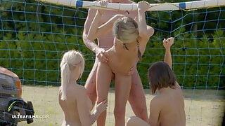 ULTRAFILMS 3 girls having Group Sex on the Soccer Field