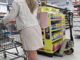 Short skirts and ass Blond plump-ass pawg in short see-thru skirt in walmart