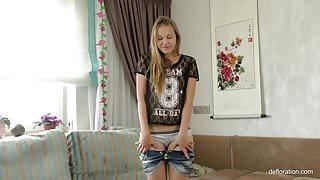 Tara Sabirova with small juicy ass masturbating