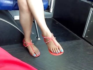 Asian job bus Candid asian feet and legs on the bus