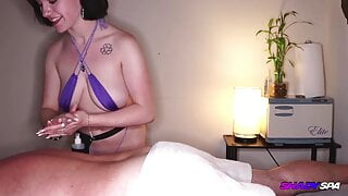 Hot Massage Therapist Gives Happy Ending Handjob and Blowjob