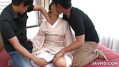 Kimono clad Marika is stripped and stuffed with two dicks