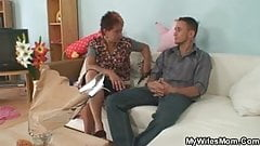 Mother in law seduces younger man while his wife away
