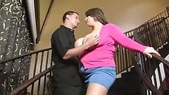 Cute bbw gets fucked on the stairs