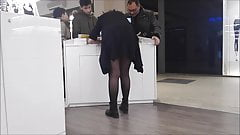 Promoter girl with black pantyhose