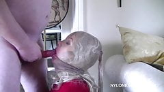 Nylon mask hottie BJ and cum on face