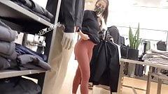 Candid ass sexy employee tan leggings