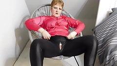 Satin blouse and shiny leggings