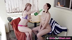 GirlsOutWest - Busty hairy lesbian babe licked and fingered