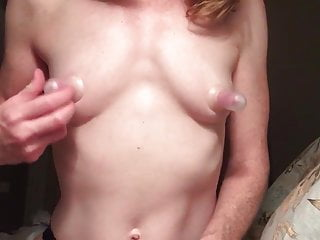 Breast suction porn Redhead, little tits and huge nipples in suction