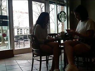 Im 18 boobs are too big - Skirt is too short, upskirt at starbucks with face shot