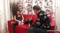 Hard anal casting couch amateur mom fisted and DP