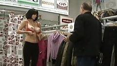 Busty Ukrainian topless bra fit prank 2