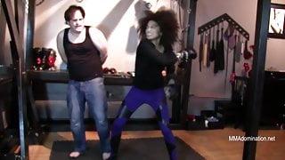 Hot Interracial MMA Beauty Beats down White Slave