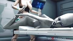 Сексуальная научно-фантастическая женщина-андроид трахает пришельца на космической станции