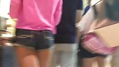Tight teen wearing shorts in mall