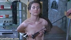 Slim Russian brunette with long legs punished and fucked