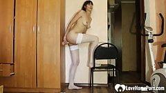 MILF in stockings like to choke on dildo