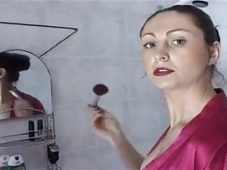 Eye makeup breast Brunette does makeup while slave worship her ass