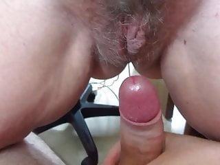 Close hairy ups - My wife drips on my cock