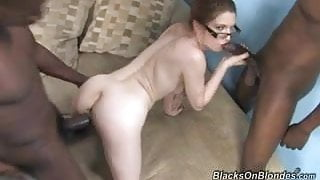 White stepmom butt fucked and cum covered by 2 BBC