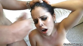 Busty Diamond Kitty takes a load of Cum over her lush Face