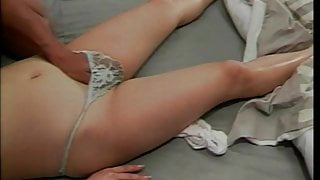 Cute babe lays down as she enjoys while her pussy gets finger fucked and drilled