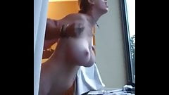 Sexy mature MILF gets anal fucked in hotel window