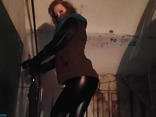 Redhead castmaster pant Husband records on camera how wife in tight pants a walk