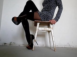 How to imitate oral sex My legs in pantyhose with imitation stockings and high heels