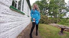Star Trek cosplay Nurse in thigh boots Outdoor striptease