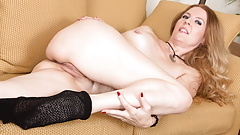 Blonde milf Lacy gets naughty in fishnet pantyhose