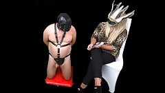 Mistress Humiliates Femdom CFNM Slave with Stop Go Game