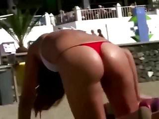 Onion butt bikini girls Girl in twenties with a divine butt on the beach