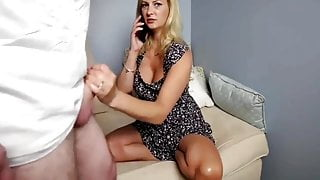 Cheating amateur wife gets fucked while talking on the phone