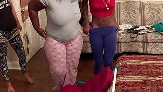 White girl gives two black girls a belt spanking