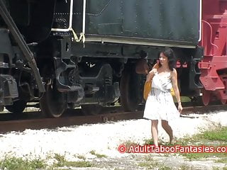 Vintage track bike Hot milf fucks herself with dildo next to railroad tracks