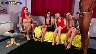 Brit cfnm dommes suck in this kinky interracial group sex scene