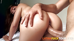 Busty redhead latina gets doggystyle from husbands friend