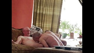 Hot Silver Step Dad gets sucked a couple times