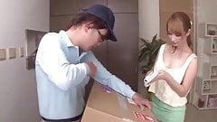 Busty downblouse and deliveryman
