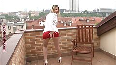 Milf Samantha Jolie loves to show off her crotchless panties