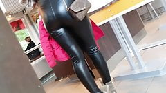Blonde slut showing her extreme tight leather ass in public