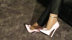 high heels dangling